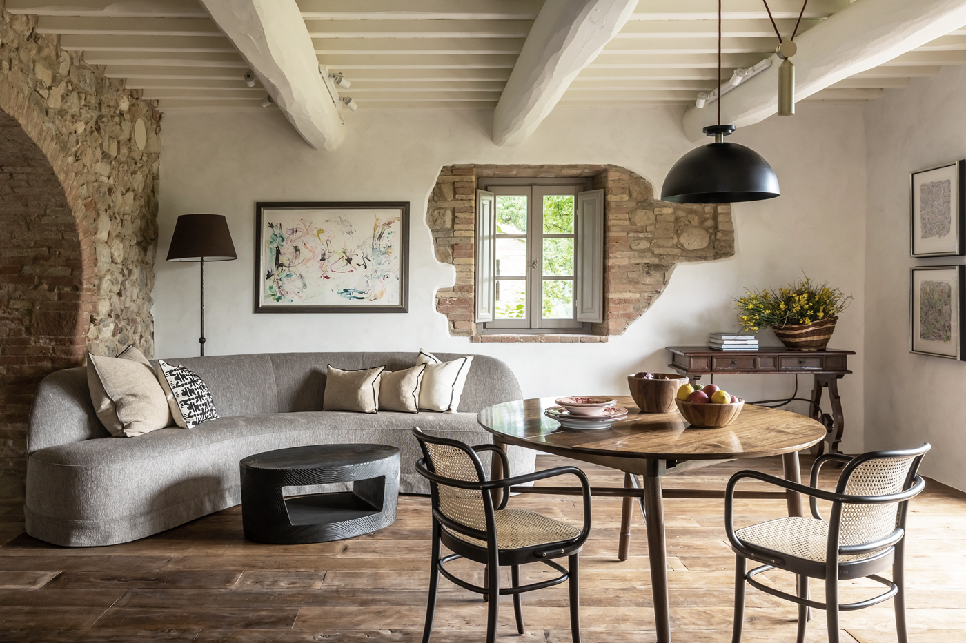 Rustic living space of a restored Italian vista