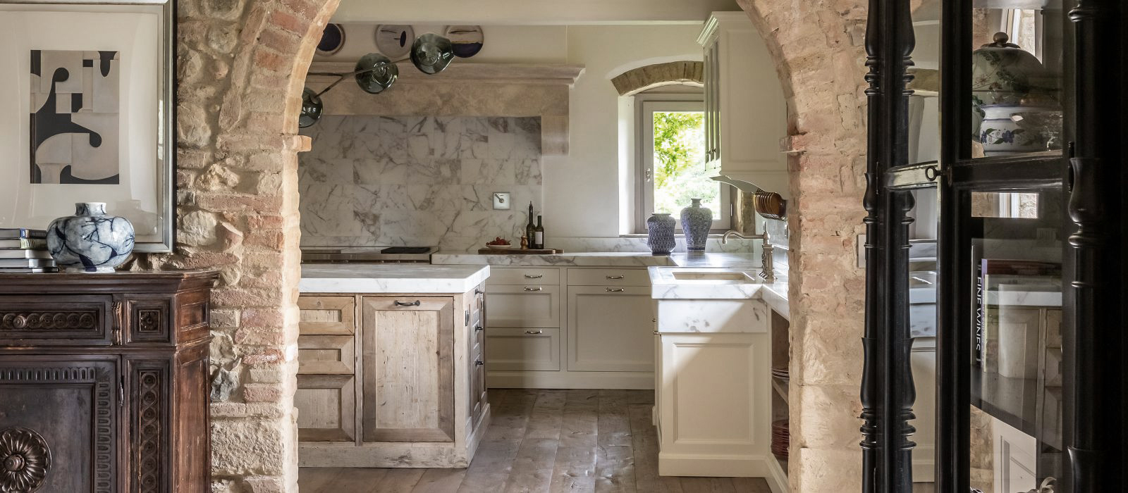 Restored kitchen with brickwork archway