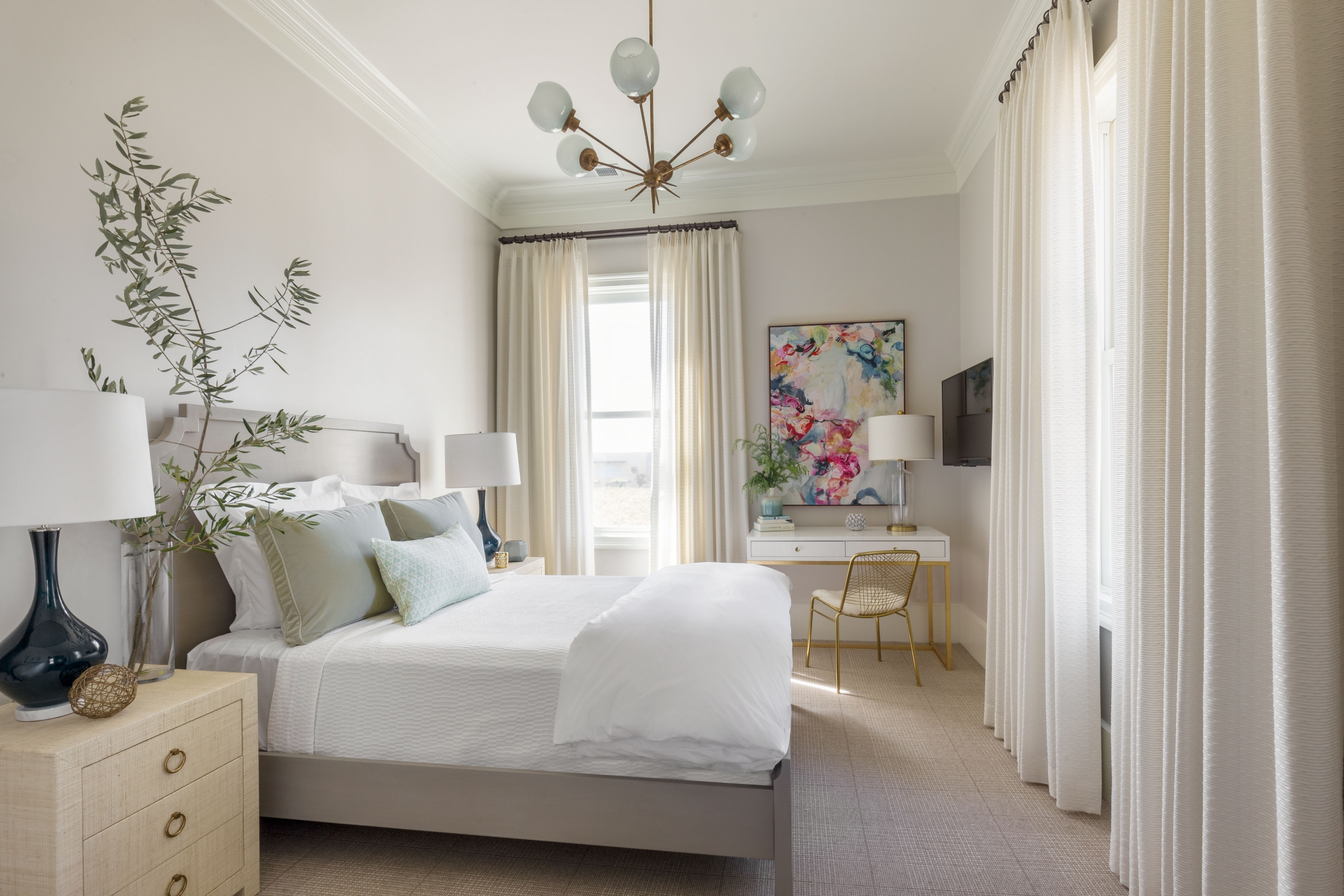 Olive branch used with neutral colors gives an excellent pop to these luxury Drapes