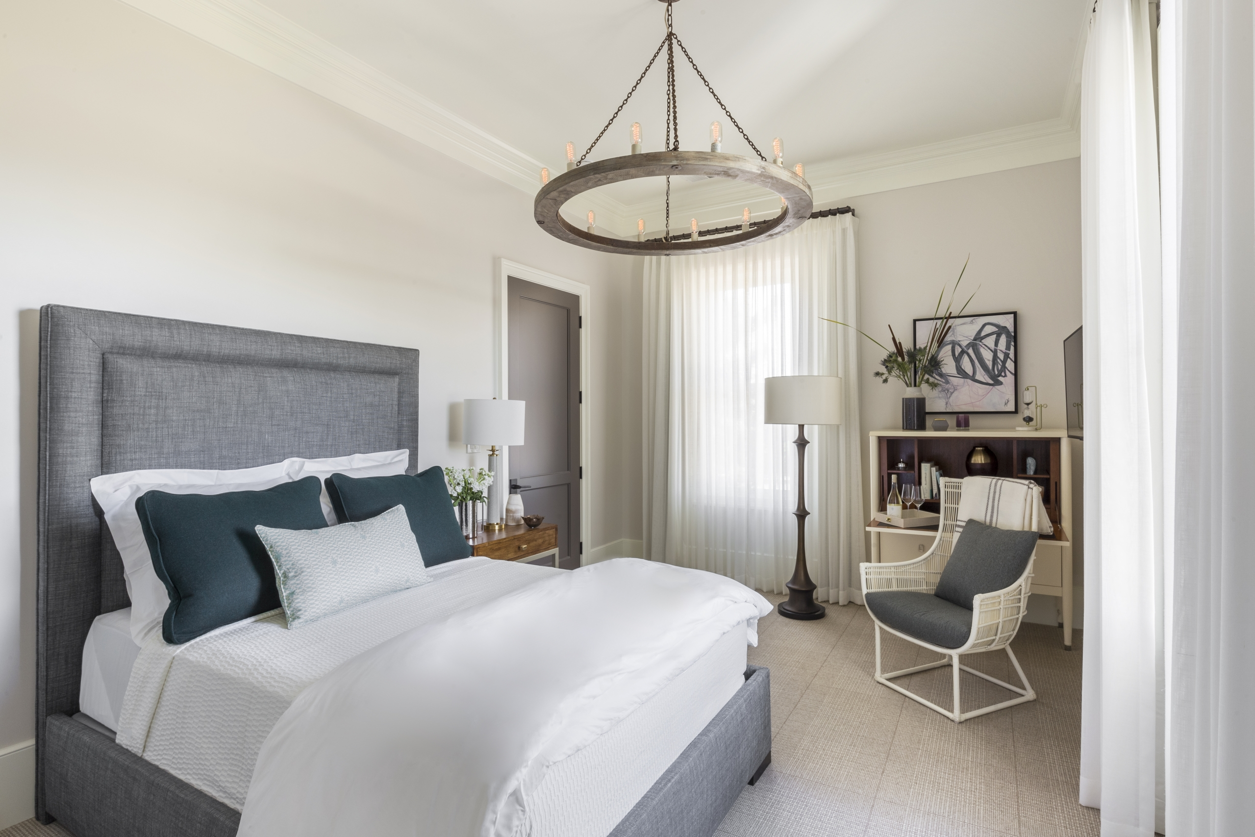 cozy warm neutral and elegant bedroom as seen in Houzz
