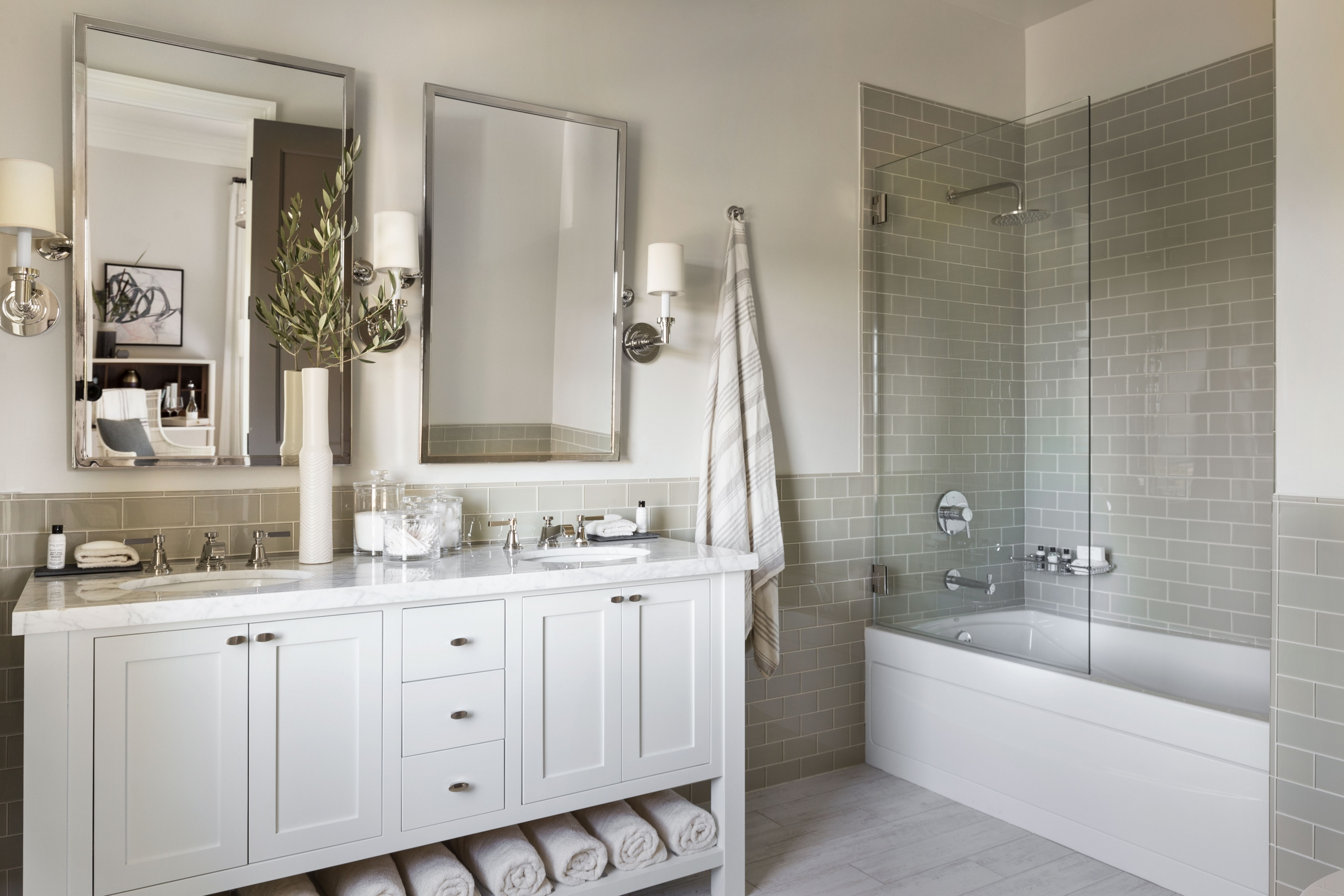 White Bathroom with cabinets two mirrors in the St Helena Napa Valley as seen in Houzz